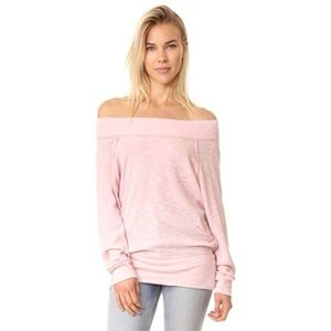 Free People pink off the shoulder long sleeve top